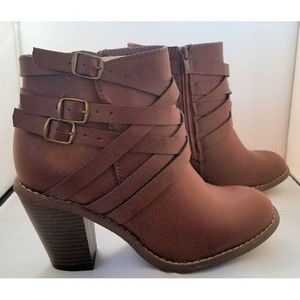 Journee Collection Strappy Brown Booties NWOT